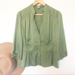 Ann Taylor green silk peplum blouse